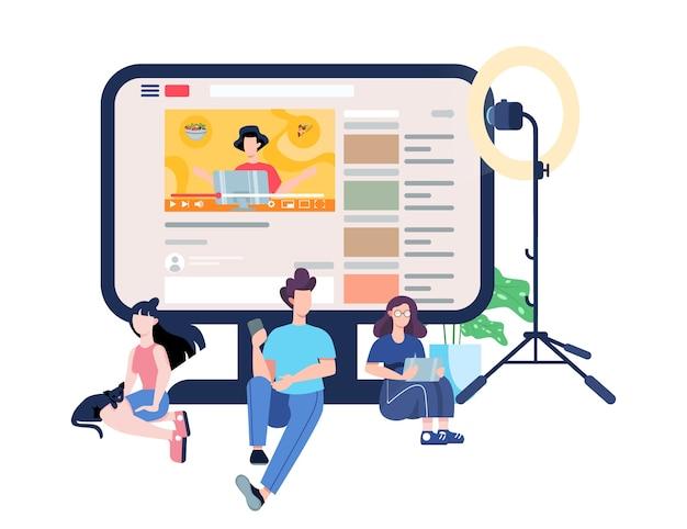 ブロガーのイラスト。インターネットでコンテンツを見る。ソーシャルメディアとネットワークのアイデア。オンライン通信。図