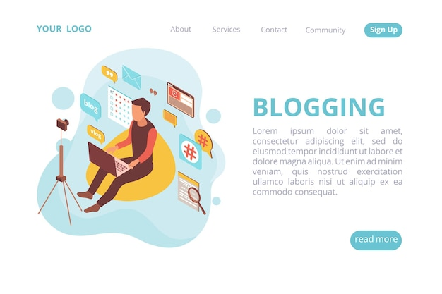 Blogger isometric web site landing page with human character and cloud of pictograms with clickable links