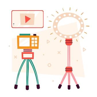 ブロガーのアイテムはクリップアートです。スマートフォン、カメラ、雷。スタジオでビデオを作る。メディアコンテンツ制作。ポッドキャスト、ストリーム、チャンネル、vlog、ブログ。分離されたフラットの図