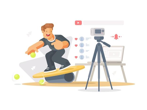 Blogger снимает видеоклип. парень снимает себя фотоаппаратом. иллюстрация