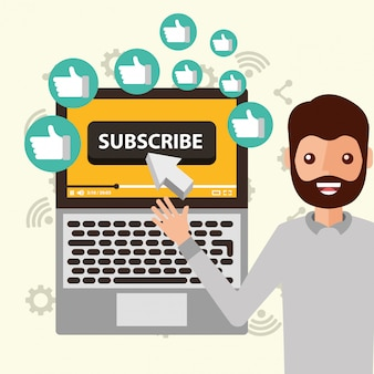 Blogger man pointing laptop subscribe likes