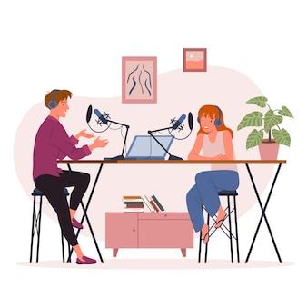 Blogger podcaster люди, транслирующие векторные иллюстрации. персонажи мультфильмов молодой мужчина и женщина размещают короткое видео в влоге или веб-блоге, записывают на камеру контент видеопотока подкаста, изолированного на белом