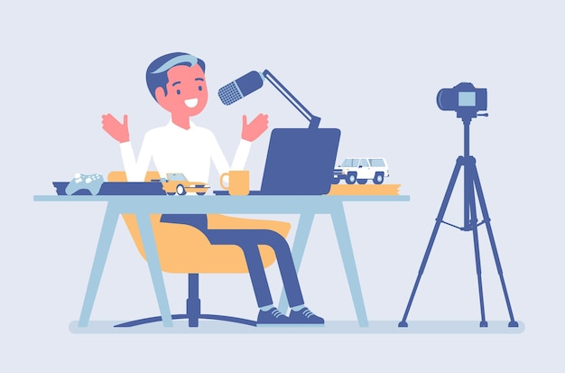 Blogger podcaster streaming. man writing material to blog, reviewing for online journal or website content, posting short videos to a vlog, recording program. vector flat style cartoon illustration