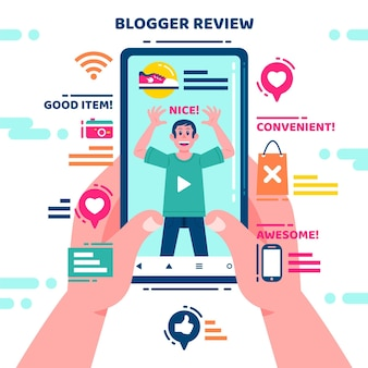 Blogger review illustration concept