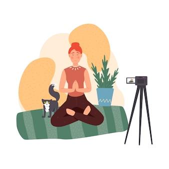 블로거 세트. 인터넷에서 컨텐츠를 공유하십시오. 온라인으로 인기있는 사람들. 명상과 건강한 생활 습관에 관한 블로그