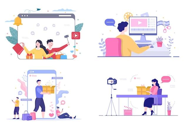 Blogger unboxing cardboard package content creator background 소셜 미디어 쇼핑 블로그 벡터에서 온라인으로 비디오 만들기