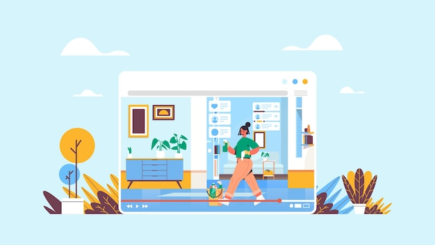 スプレーとダスターを使用してブロガーを記録するオンラインビデオブログライブストリーミングブログコンセプトガールクリーニングルームwebブラウザーウィンドウ水平