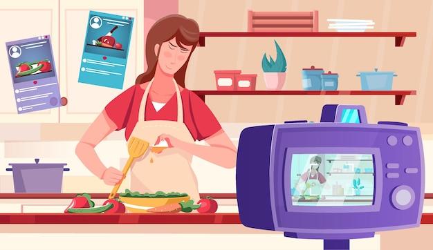 キッチンのインテリアイラストで料理番組を撮影する女性とブロガーのビデオフラット背景