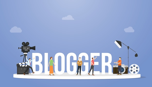 Blogger or vlogger concept with big text or word and professional people with some tools with modern flat style