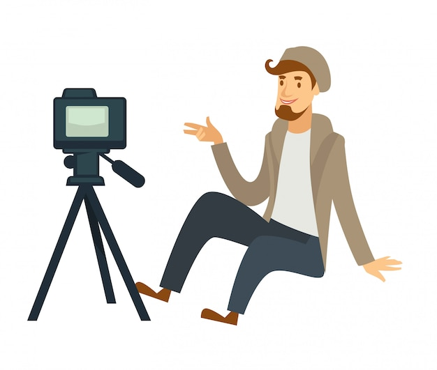 Blogger or vlogger man shooting vector video camera