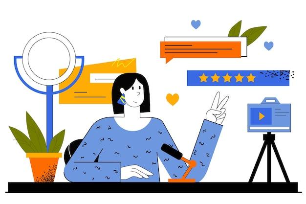 Веб-концепция blogger. женщина записывает видео для своего блога. ведение блогов, создание контента, рост подписчиков, онлайн-разработка и продвижение.