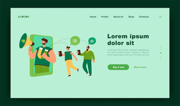 Blogger with loudspeaker influencing on audience in social media. flat  illustration. potential consumers being informed online by blogger announcements. digital marketing, promotion concept landing page