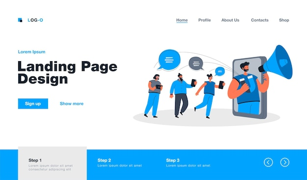 Blogger with loudspeaker influencing on audience in social media landing page in flat style