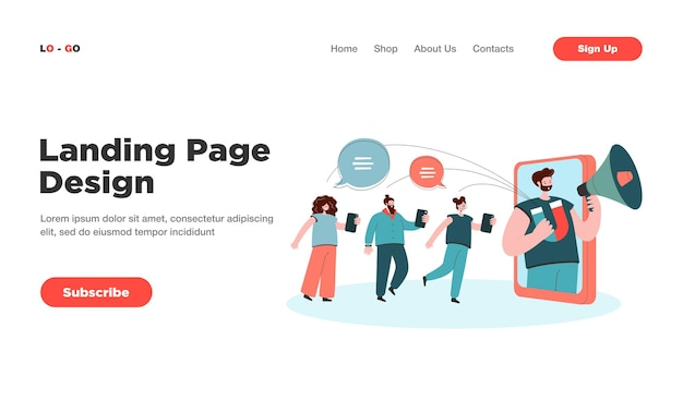 Blogger with loudspeaker influencing on audience in social media landing page. landing page