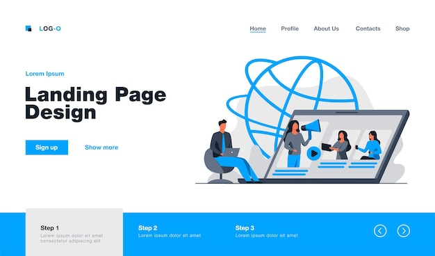 Blogger with megaphone advertising referrals landing page in flat style