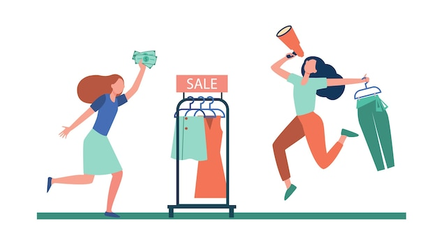 ファッション店でメガホン広告を販売しているブロガー。平らなイラストを買い物に走っている顧客。