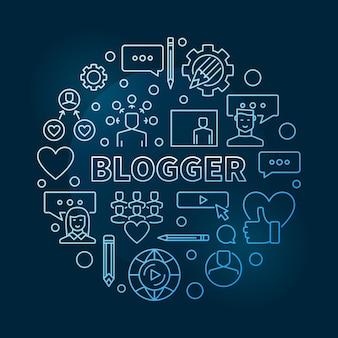 Blogger круговой концепции синий контур иллюстрации