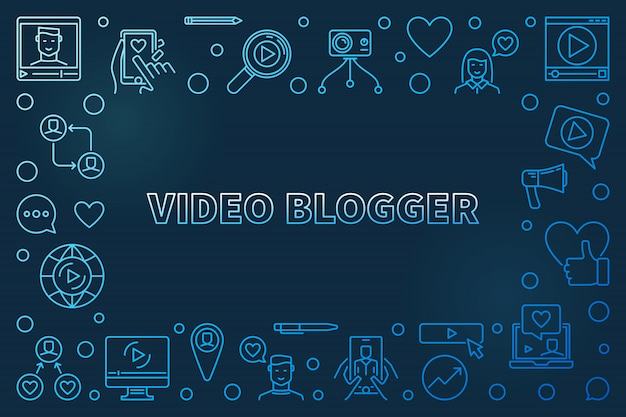 Видео blogger концепция наброски синяя горизонтальная рамка