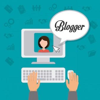 Bloggerのデジタルデザイン。