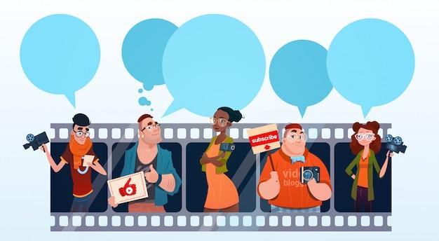 Люди группа видео blogger онлайн поток блоггинг концепция подписки