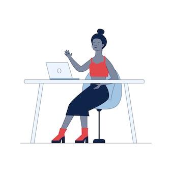 Blogger машет привет на мониторе