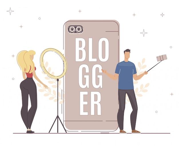 Bloggerは別のデバイスのスマートフォン、ライトを使用します。