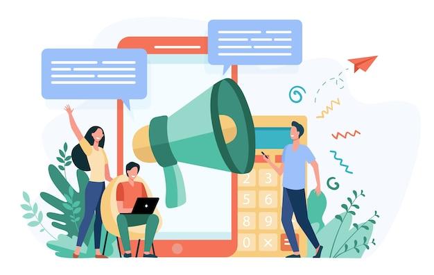 추천을 광고하는 블로거. 뉴스를 알리는 가제트와 확성기를 가진 젊은이들이 타겟 청중을 끌어들입니다. 마케팅, 홍보, 커뮤니케이션을위한 벡터 일러스트 레이션