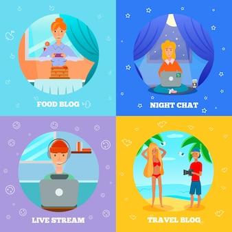 Блогеры, персонажи популярных тем, 4 плоских значка, квадратная концепция с едой, приготовлением еды, путешествием, ночным чатом