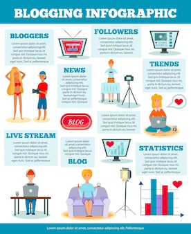 Bloggers characters popular video photo news fashion cooking topics presentation statistics examples comparison infographic poster illustration