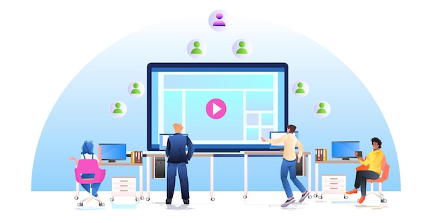 Bloggers creating clip mix race people watching video content on screen social media network concept horizontal full length  illustration