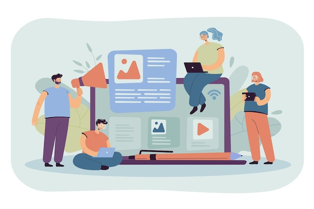 Bloggers and influencers writing articles and posting content. cartoon illustration