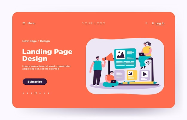 Bloggers and influencers writing articles and posting content landing page