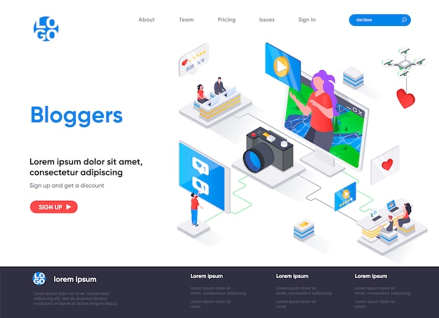 Bloggers isometric landing page template