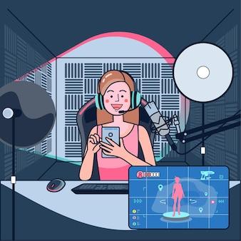 I blogger giocano a giochi dal vivo nei loro canali sotto la sorveglianza di un pubblico mondiale. i blogger di gioco sono molto apprezzati dai giocatori. illustrazione piatta