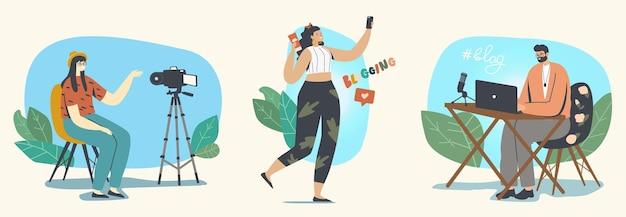 ブロガーの職業、ソーシャルメディアの概念でのvlogging。 vloggerの男性または女性のキャラクターがインターネットライブストリーミング用のビデオを録画し、フォロワー向けに放送しています。線形人ベクトルイラストセット