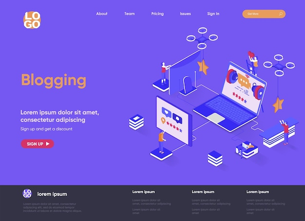 Blogging 3d isometric landing page website   illustration with people characters