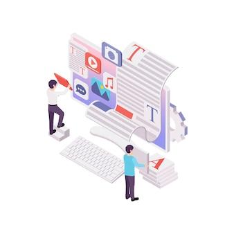 Изометрическая концепция ведения блогов и видеоблогов с человеческими персонажами и компьютерной 3d-иллюстрацией