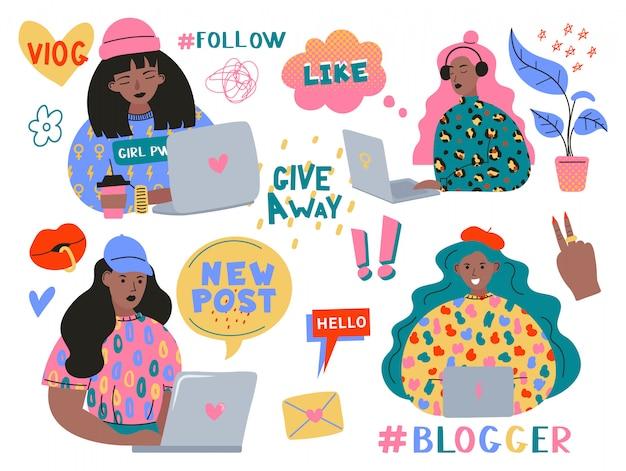 블로깅 및 블로그 설정. 노트북으로 콘텐츠를 만들고 소셜 미디어, 블로그 또는 블로그에 게시하는 귀여운 재미있는 소녀 또는 블로거. 디자인 요소 흰색 배경에 고립의 번들입니다.