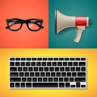 플랫 스타일, 키보드 확성기 및 안경 그림의 웹 사이트 유행 개체에 대한 블로그 및 글쓰기