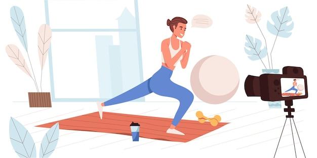 Концепция ведения блога в плоском дизайне. blogger записывает тренировку дома. фитнес-тренер делает упражнения и транслирует в блоге. создание видеоконтента, людей в социальных сетях. векторная иллюстрация