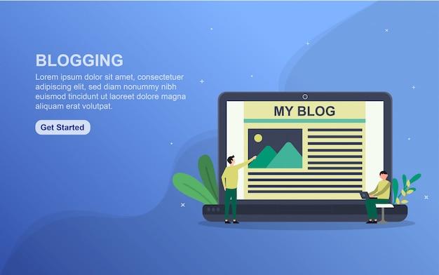 Blogging concept landing page template.