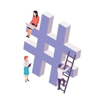 ハッシュタグ記号と人々の3dアイソメトリックイラストとブログの概念