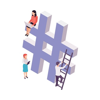 Blogging concept with hashtag sign and people 3d isometric illustration