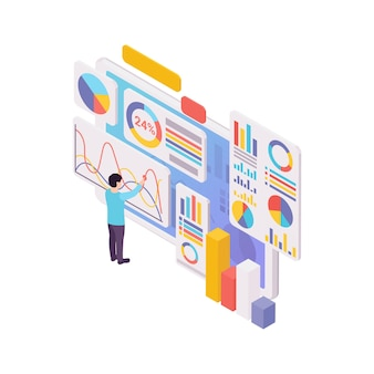 Blogging concept with human character graphs and diagrams 3d isometric illustration