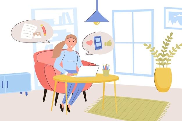 Концепция ведения блога женщина-блогер пишет статьи и публикует фотографии в личном блоге.