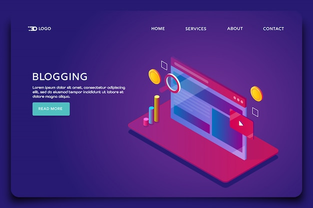 Blogging content landing page template