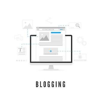 Blogging or content production concept. website development on pc screen from different elements.