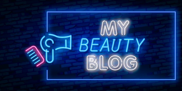 Blogging design template neon sign, light banner, neon signboard, nightly bright advertising, light inscription.