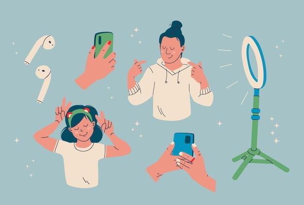 Набор элементов ведения блога. кольцо света, беспроводные наушники, смартфон, средство создания цифрового контента.