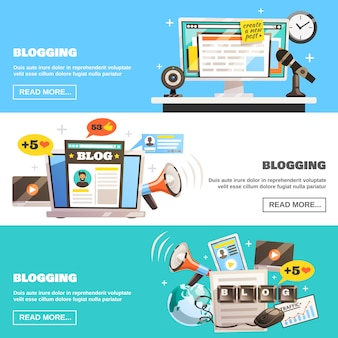 Blogging horizontal banners set